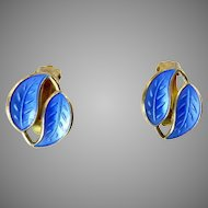 Vintage Blue Enamel Earrings by David-Andersen