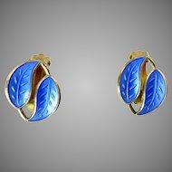 Vintage Blue Enamel Earrings by David-Andersen