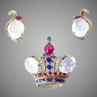 Trifari Sterling Crown and Earring Set