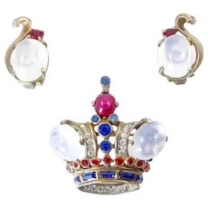 Trifari Sterling Crown and Earring Set