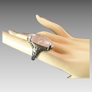 Rose Quartz Cocktail Ring with Ornate Silver Setting