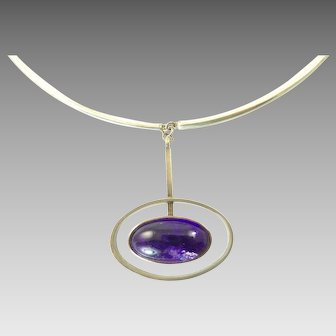 Niels Erik From Modernist Amethyst and Sterling Silver Pendant Necklace