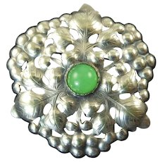 Arts and Crafts Silver and Chrysoprase Brooch