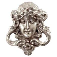 Art Nouveau Sterling Silver Lady Head Brooch