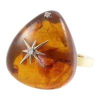 Large Amber, Diamond, and 14 Karat Gold Ring