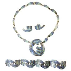 Margot de Taxco Wave Circle Enamel Parure Design Number 5547 with Necklace, Bracelet, Earrings, Brooch