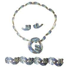 Margot de Taxco Wave Circle Enamel Parure Design Number 5547 with Necklace, Bracelet, Earrings, Brooch
