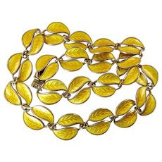 Yellow Enamel Necklace by David-Andersen