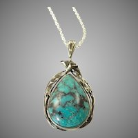 Arts and Crafts Sterling and Turquoise Pendant with Calla Lily Border