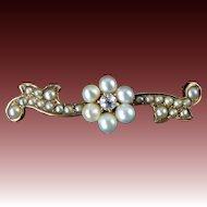 Edwardian Pearl and Diamond Brooch