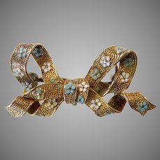 Krementz 14 Karat Bow Brooch/Pendant with Enameled Forget Me Nots