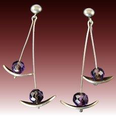 Alexandra Solowij Watkins Modernist Sterling Silver Earrings with Amethyst