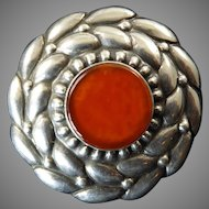 Arts and Crafts Brooch with Carnelian Signed DKS