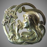 French Art Nouveau Lady Head Brooch with Diamond Accents