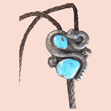 Navajo Turquoise and Sterling Rattlesnake Bolo by Ramon Platero