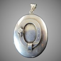 Victorian Silver Locket with Order of the Garter Motif