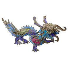 Vintage Kingfisher Feather Dragon Brooch
