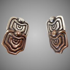 Los Castillo Serpent Scales Silver and Copper Earrings