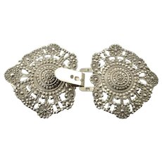 Antique French Silver Cape Clasp Buckle from the Early 19th Century
