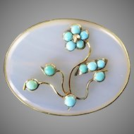 Victorian Chalcedony Brooch with Turquoise Flowers