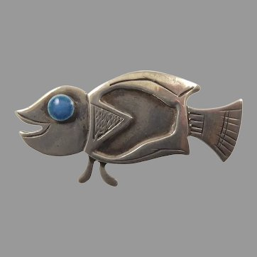 Graziella Laffi Sterling and Enamel Fish Brooch