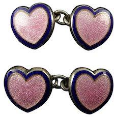 Pink Heart-shaped Enamel Cufflinks by Penhaligon's
