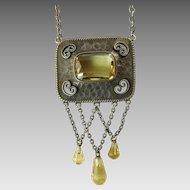 Jugendstil Silver and Citrine Necklace