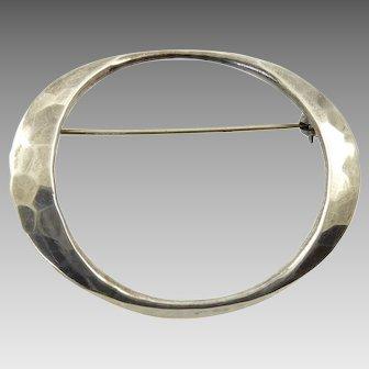 Tone Vigeland Hammered Oval Brooch