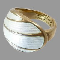 Vintage David-Andersen Modernist White Enamel Dome Ring in Gilt Silver