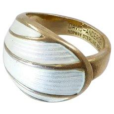 Vintage David-Andersen Modernist White Enamel Dome Ring in Gilt Silver