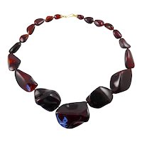 Huge Resin Necklace with 18 Karat Gold Clasp