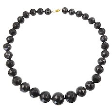 Large Victorian Whitby Jet Beaded Necklace
