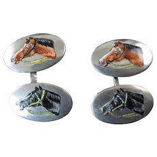 Antique Cufflinks with Enameled Horse Heads on 800 Silver
