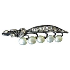 Victorian Diamond and Pearl Lily of the Valley Brooch