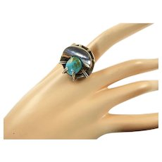 Large Erika Hult de Corral Sterling Ring with Turquoise