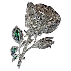 Vintage Paste and Silver Rose Brooch