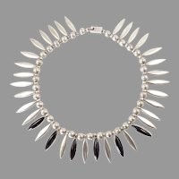 Mexican Sterling Silver and Onyx Fringe Necklace