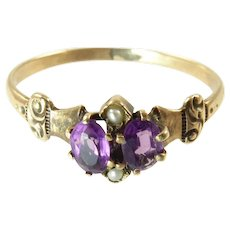 Victorian Amethyst and Seed Pearl Ring 10 Karat Gold