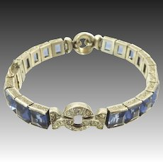 Blue Diamonbar Art Deco Paste and Sterling Bracelet with Clear Accents
