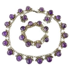 Early Los Castillo Mexican Silver and Amethyst Parure of Necklace, Bracelet, and Earrings