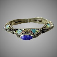 Chinese Export Enamel and Lapis Bracelet