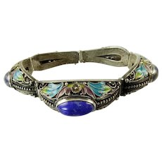Chinese Export Enamel and Lapis Bracelet