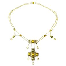 Arts and Crafts Necklace Set with Cat's Eye and Tiger's Eye in Silver and 14 Karat Gold