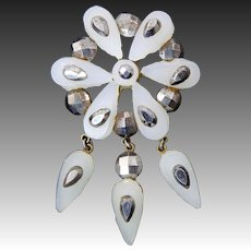 Antique Victorian Cut Steel and Glass Brooch