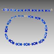 Blue Enamel and Sterling Necklace and Bracelet by Meka