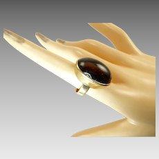 Kaunis Koru Ring with Smokey Quartz in 14 Karat Gold Modernist Finnish Jewelry