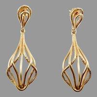 Long 14 Karat Gold Modernist Earrings