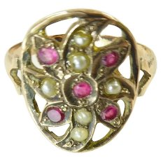 Antique Ring with Rubies and Seed Pearls