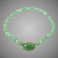 Chrysoprase and Gilt Silver Necklace