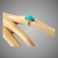 Edwardian Turquoise and 12 Karat Gold Ring